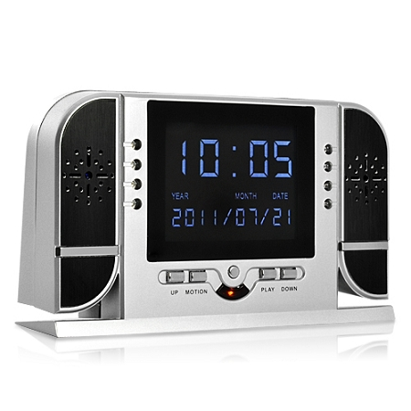 1280x720 HD Spy Camera Alarm Clock with Motion/Voice Detection Nightvision  (8 powerful IR LEDs)