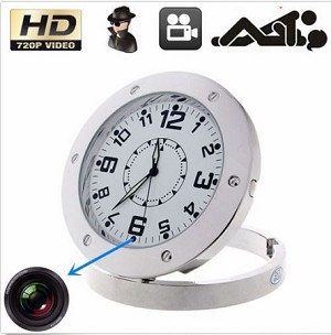 HD 720P Table Clock Camera Motion Detection Mini DVR With Audio